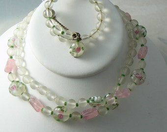 Miriam Haskell Wedding Cake Bead Necklace Bracelet Set  Unique vintage, antique, costume and estate jewelry.