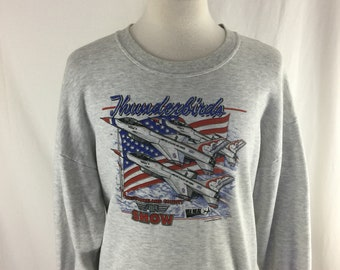 Vintage 90s Thunderbirds Air Show 1994 Gray Pull Over Size 2X Made in USA