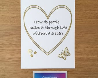 Card for sisters, handmade sisters birthday card, sisters day, special sister