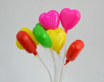 Colorful Heart Balloons Party Cake Celebrations Plastic Mini Decorations az8015