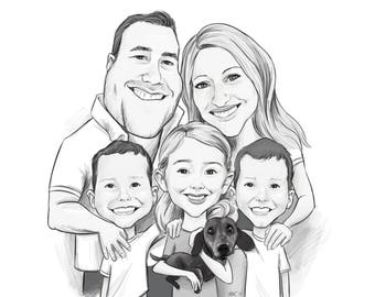 Three Person or more B&W Caricature