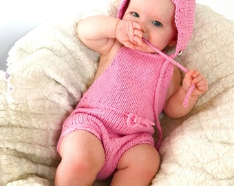 Knit Romper and Bonnet Set, Knit Baby Romper, Baby Girl Clothes, Baby Girl Coming Home Outfit, Knit Clothes, Baby Clothing