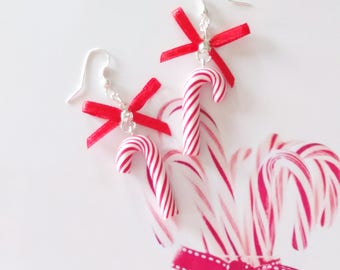 earrings candy cane polymer clay