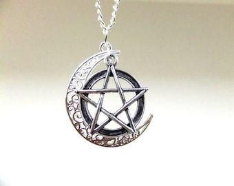Silver Moon and Pentagram Necklace, Crescent Moon Necklace, Pentacle Necklace, Wiccan Necklace, Wicca Jewelry,Boho Necklace,Protection Charm