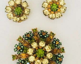 Peridot, Olive, Topaz and Clear Crystal Brooch and Earring Set