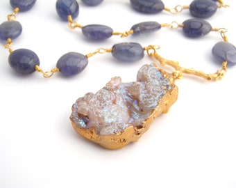 Tanzanite Necklace With Fossilized Coral Pendant, Perwinkle Blue, Gold, Statement Necklace