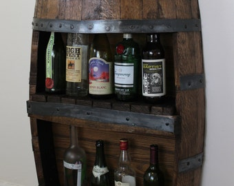 Whiskey Barrel Bar with Shelf, Reclaimed Whiskey Barrel Bar, Barrel Furniture, Whiskey Barrel, Wine Barrel, Liquor Cabinet Christmas Gift
