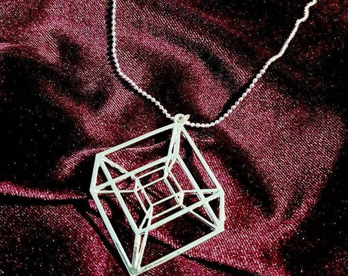 Tesseract Hypercube Necklace - occult geometry satan saturn black cube apep apophis sacred geometry
