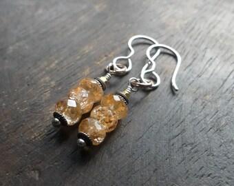 Topaz gemstone arrings, imperial topaz, stack earrings, November birthstone, rose gold, bali silver, golden topaz