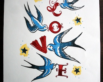 Love print, tattoo style swallows