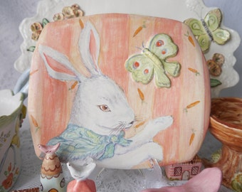 Ceramic Plate, Nursery Decor, Painted Bunny Rabbit and Butterfly, Pastel Spring Colors