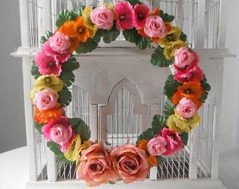 boho Bohème Couronne Couronne de mariage décor Couronne rose floral porte décor fleurs en soie lumineux rose lumineux jaune orange vif coloré