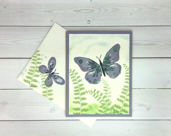 Butterfly Card - Hand Stamped Card - Stampin Up Card - New Baby Card - Birthday Card - Nature Card - Thank You Card - Blank Card