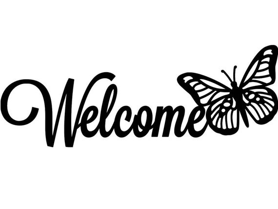 Welcome Butterfly Metal Sign Custom Metal Name Sign