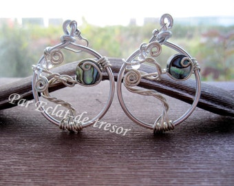 Tree of life earrings, pearl beads