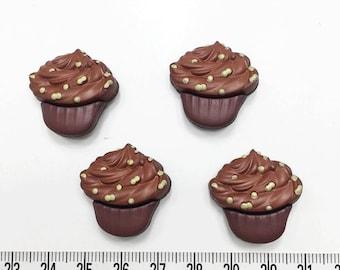 8 pcs of Yummy Chocolate Cupcake Shank Button