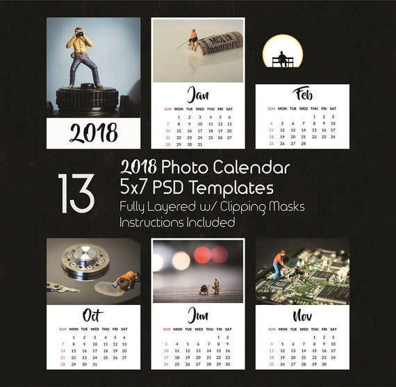 5x7 Photo Calendar Template 2018 13 Psd Templates Photoshop