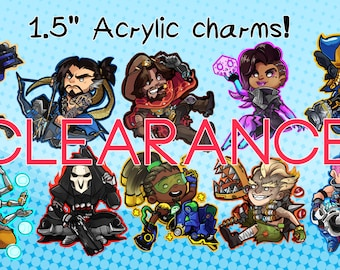 Clearance! 1.5 inch single sided clear acrylic Overwatch charms