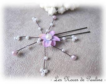 Peak bun purple small flower, wedding jewelry at