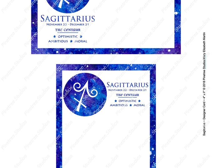 "Sagittarius ~ Zodiac Sign Postcards (4"" x 6"" Landscape and Portrait) Digital Download ~ Printable / Journal Label / Card / E-Card / Ephemera"