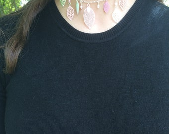 Pink and silver Choker necklace
