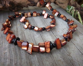 Mens Necklace, Rust Shells, Earthtones, Black Beads, 18 inches long