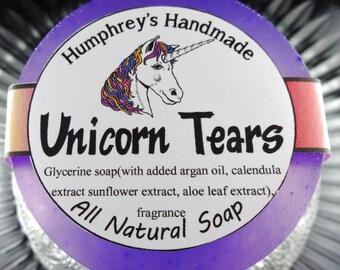 UNICORN TEARS soap, Cherry Coconut Buttercream Shave & Shampoo Soap, Round Purple Puck, Magical Scent, All In One Unicorn Soap