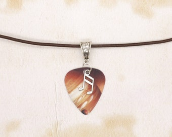 Jupiter Space Guitar Pick & Music Note On Real Brown Leather Thong Necklace