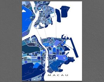 Macau Map Print, Macau China, City Street Art Poster, Blue
