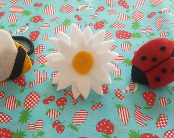 Set of three handmade felt hair bobbles/ties