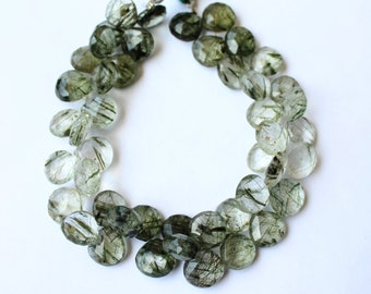 Top Quality Natural Green Rutilated Quartz 11x11-12x12 MM Faceted Heart Shape 9 Inch Strand