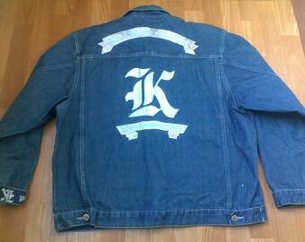 KARL KANI jacket, vintage Kani jacket, Brooklyn denim jacket, old school 90s hip-hop clothing, 1990s hip hop shirt, og, gangsta rap, size L