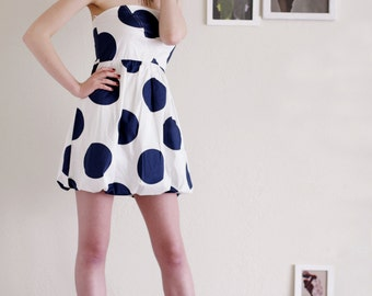 Womens Party Dress - White and Blue Polka Dot Prom Cotton Dress