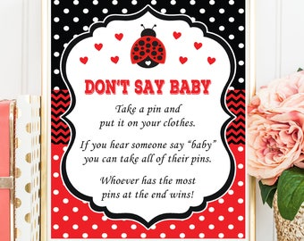 Ladybug Don't Say Baby Game, Red Ladybug Theme, Lady bug Baby Shower, LadyBug Dont Say Baby Printable Digital File, INSTANT DOWNLOAD