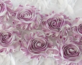 ONE yard SOFT VIOLET White Stripe Print 2 1/2 inch- Silk Chiffon Shabby Rose Trim, Hair Bow. Chiffon Rossettes