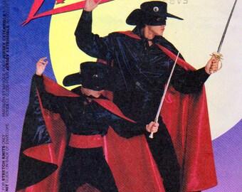 McCalls 8872, Zorro Pattern, Zorro Costume Pattern, 38 to 40 Inch Chest Size, Cape, Hat, Gauntlets, Shirt, Pants, Zorro Mask, Boots