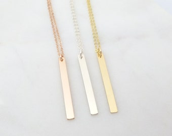 Gold Bar Necklace, Ultra delicate skinny bar necklace in Silver, Gold Filled, Rose, Perfect Bar Necklace