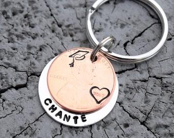 Personalized graduation penny keychain | Custom graduation gift | Personalized graduation gifts | Custom grad gifts | 2018 graduation |