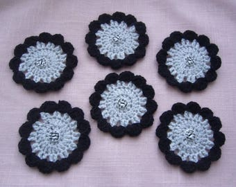 Set of 6 granny flowers are hand crochet - black and gray wool - woolen buttons black and white Plaid