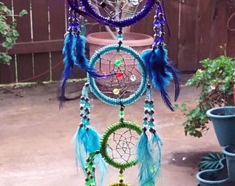 New Large 25 Inch Handmade Native American Design BEADED DREAMCATCHER With Chakra FEATHERS, Dream Catcher
