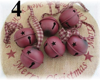 "Burgundy Bell Ornament Ornie Christmas Star Wreath Decoration Holiday 2"" Set/6 Primitive"