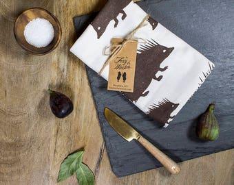 Espresso Brown Hedgehog Tea Towel - GOTS Certified Dish Towel - Organic Cotton Kitchen Towel - Hedgehogs - Tea Towels - Dish Towels