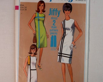 Vintage Simplicity Sewing Pattern 6394, Mod Fitted Dress with Modernist Asymetrical Trim, Size 14 Bust 24, Jiffy Easy and Fast Pattern