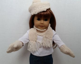 "Crochet Doll Hat, Scarf and mitten set  fits 18"" American Girl Doll"