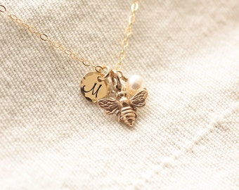 Tiny Honey Bee Necklace, Gold Initial Charm Necklace, Personalized Necklace, Hand Stamped, Initial Charm, Gold Filled, Dainty Necklace