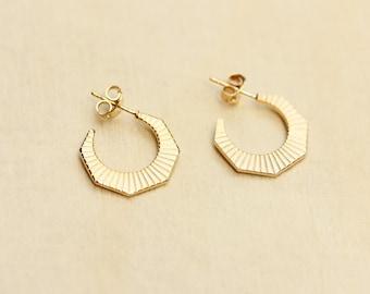 Gold Geometric Hoops, Hoop Earrings, Hoop Earrings, Gold Hoops, Round Earrings, Gold Circle Earrings, Small Gold Hoops