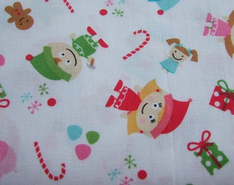 White Elves Christmas Fabric by the Yard Santa's Workshop