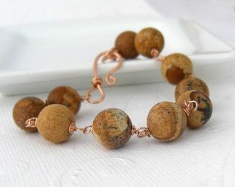 Jasper Bracelet Rosé goldfilled natural colors, gemstone bracelet, brown, beige