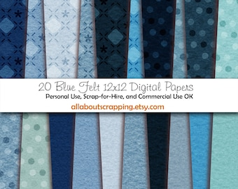 "12"" by 12"" COMMERCIAL Use Digital Scrapbooking Paper - Blue Felt Printed and Solid Papers - Instant Download"