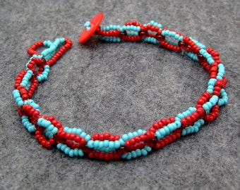Beaded Bracelet - Turquoise Blue and Red by randomcreative on Etsy